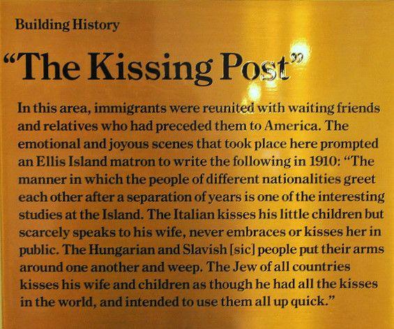 The Kissing Post at Ellis Island