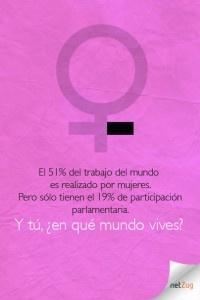 El 51% del trabajo del mundo es realizado por mujeres. Pero sólo tienen el 19% de participación parlamentaria. Y tú, ¿en qué mundo vives?