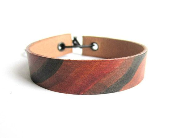 Leather bracelet painted leather cuff bracelet mens leather