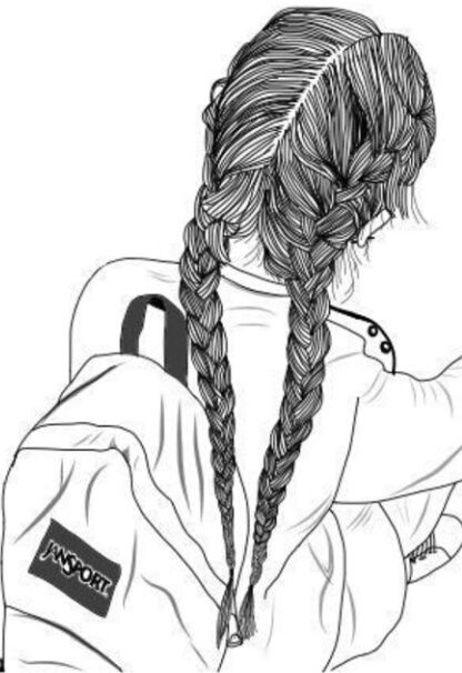 girl drawing with braids - Google Search