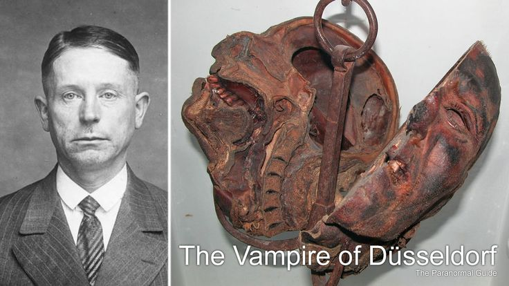 """The Vampire of Düsseldorf  Peter Kürten, 'The Vampire of Düsseldorf', went to the guillotine for the murder of nine people and drinking some of those victims blood.  His last words were """"Tell me, after my head has been chopped off, will I still be able to hear, at least for a moment, the sound of my own blood gushing from the stump of my neck? That would be the pleasure to end all pleasures.""""  Read more here: http://www.theparanormalguide.com/blog/august-16th-2016"""