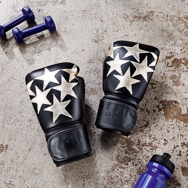 Fab by Fabienne gold leather stars boxing gloves #Fashercise #StylishlyFit