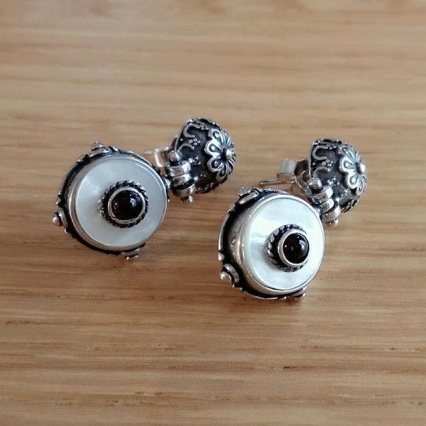 Boho Flower Ivory and Carnelian Earrings