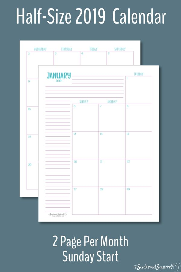 The Two Pages Per Month 2019 Calendars Are Ready Monthly