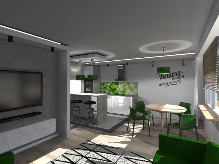 Kompleksowy projekt mieszkania w bloku. Jedna z wersji wykończenia salonu z aneksem kuchennym