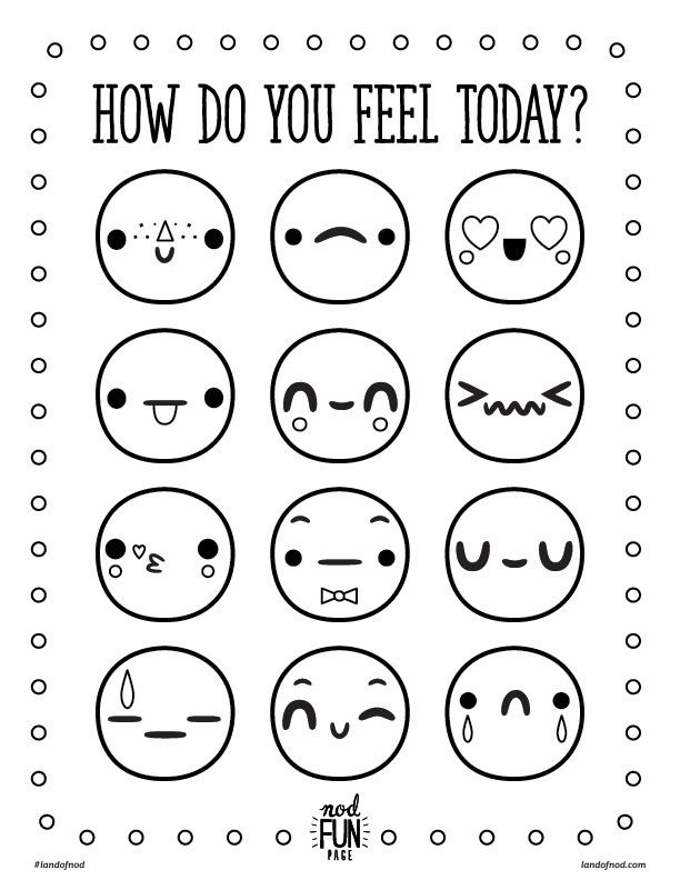 feelings chart coloring pages - photo#4