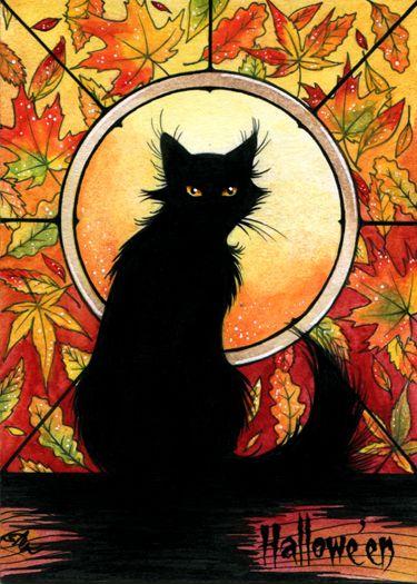 "🎃Halloween GIFs & Ghouls 🎃bookofoctober: ""Black Cat - Hallowe'en Sketch Card by SRJ-ART """