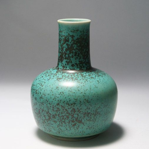 "A blue ceramic vase by Eva Stæhr Nielsen at the Saxbo works, Denmark. A fine example of a ""robin's egg"" glaze."