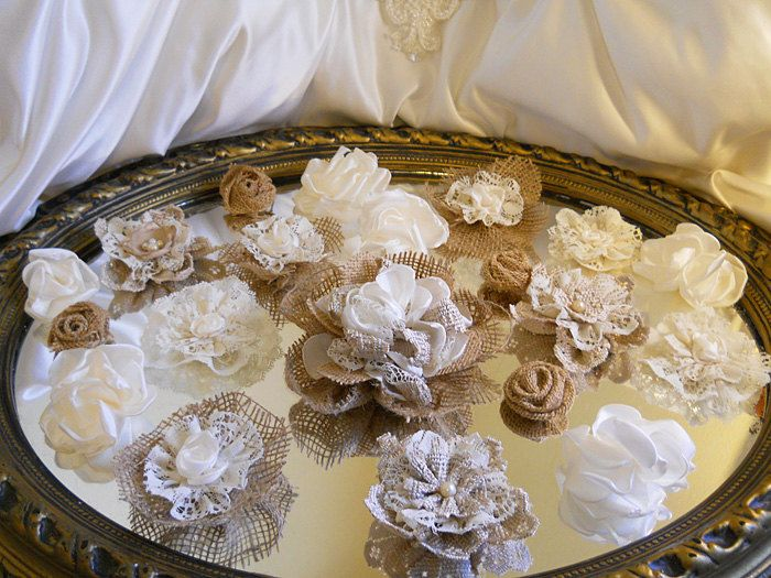 ? burlap and lace wedding decorations | Burlap & Ivory Lace Flowers for weddings, bouquet making, wedding ...