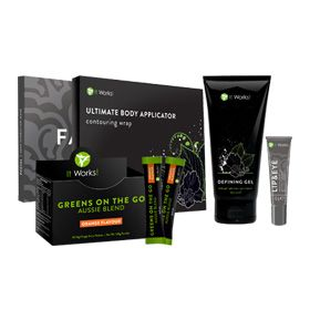 IT Pack Orange - ·         Reduce the appearance of cellulite ·         Get your healthy blend of fruits and veggies ·         Soften the appearance of fine lines and wrinkles while feeling smooth and soothed ·         Lessen the look of lines and wrinkles Includes: 1 box of Ultimate Body Applicators (4 applications), 1 Defining Gel (6.0 fl. oz.), 1 box of Facials (4 applications), 1 Lip & Eye (0.5 oz.) 1 Greens on the Go Aussie Blend- Orange (30 single serving packets).