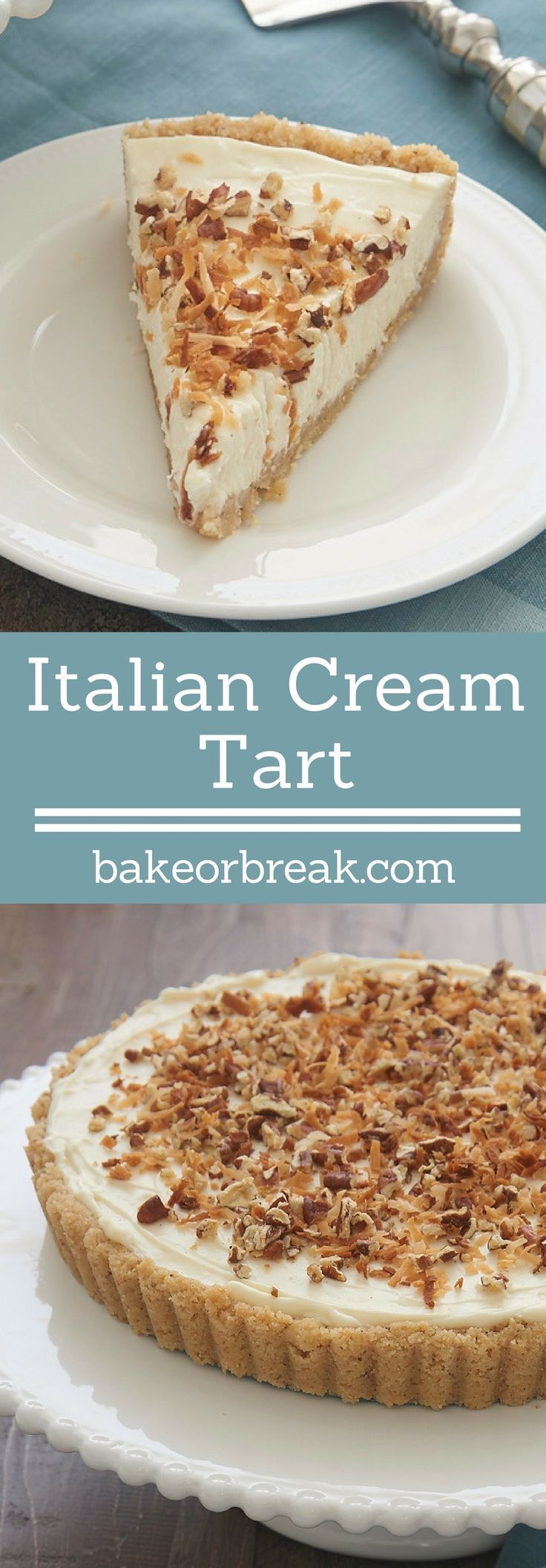 Coconut, pecans, and cream cheese are an irresistible tasty trio in this almost-no-bake Italian Cream Tart! - Bake or Break ~ http://www.bakeorbreak.com