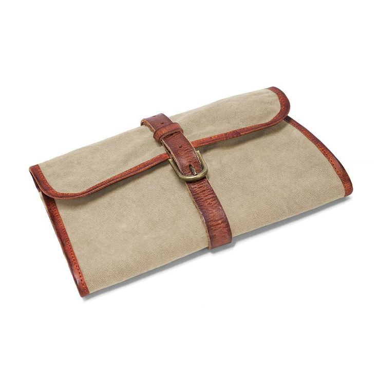 DRAKENSBERG Kimberley Wash Bag, wet pack, toiletry bag, trifold, leather canvas, vintage, green brown: Amazon.co.uk: Luggage