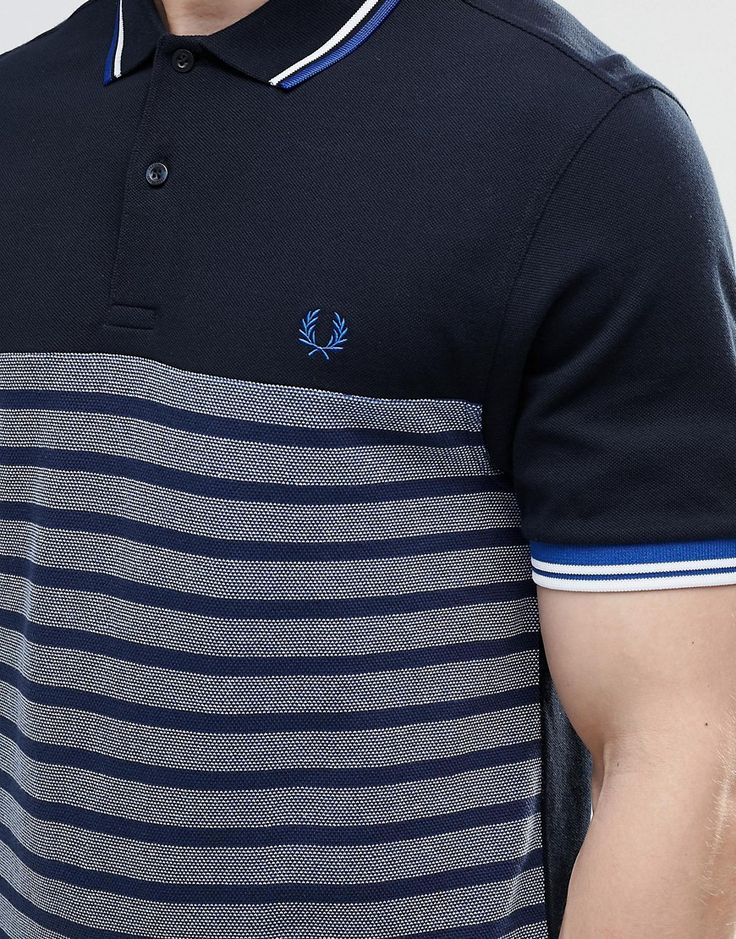 Image 3 ofFred Perry Polo Shirt With Half Stripe Slim Fit