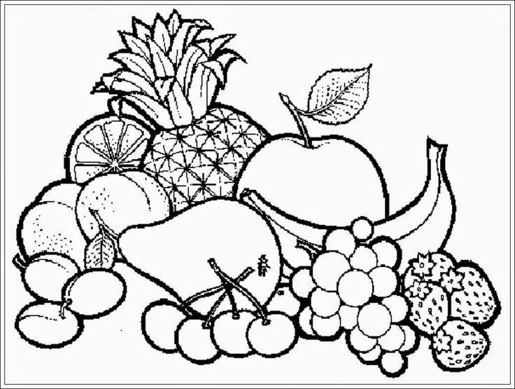 mewarnai gambar buah buahan dalam keranjang | mewarnai | Pinterest