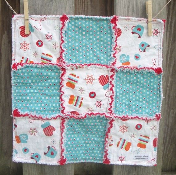 """I love how this seller didn't rag the outside edges and just sewed a double seam.  $20 a real value!  Each snuggler is made with 100% cotton fabric and has a middle layer of flannel. The traditional """"X"""" has been sewn on each square. It measures approximately 16"""" x 16""""."""