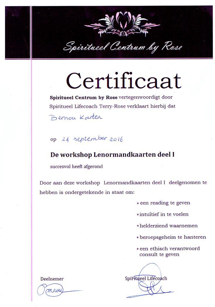 certificaat Lenormand kaarten deel 1