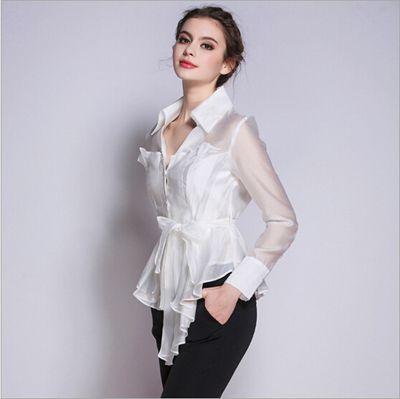 Coreano Nuove Donne Di Modo Con Scollo A V 2016 Manica Lunga Camicia Bianca Donna Indossare In Ufficio Bianco Elegante Seta Pura Camicet 7015_LRG.jpg (400×399)