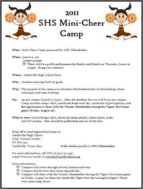 Smithville Elementary: Camp Time - Mini Cheerleading Camp Information