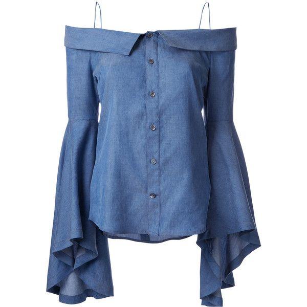 G.V.G.V. denim off-shoulders blouse ($277) ❤ liked on Polyvore featuring tops, blouses, blue, denim top, off the shoulder blouse, denim blouse, blue blouse and off shoulder tops