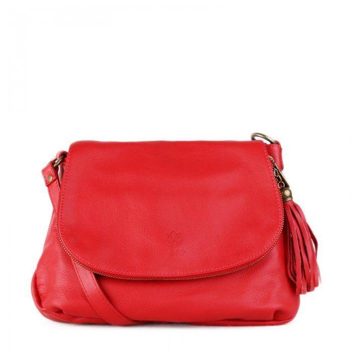 Talianska kabelka Vera pelle červená