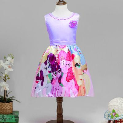 Princess my little pony dresses,purple sleeveless birthday party dress #qhmd207