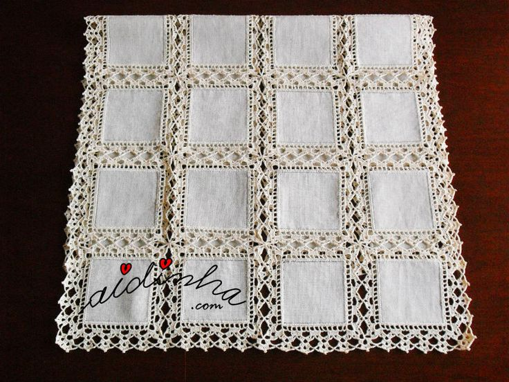 Another image doily / path table with square linen and crochet