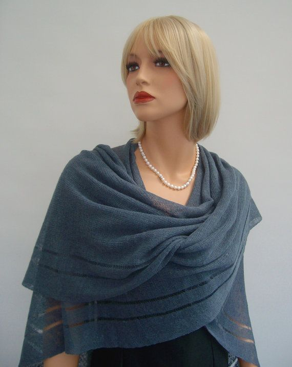 Knit Linen Poncho - Shawl. Dark Grey Linen Women's Shawl Wrap Poncho Shrug, Bridal Bridesmaid Women's  poncho, Occasion wear