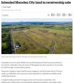 A sizeable chunk of urban Mixed Use zoned development land once promoted as the site for a Marsden City just south of Whangarei has been placed on the market for sale through a receivership process.  Featured in Bayleys' latest Total Property magazine, the 83 hectare block of land is made up of 88 titles with resource consent granted to subdivide an additional 45 residential sections.