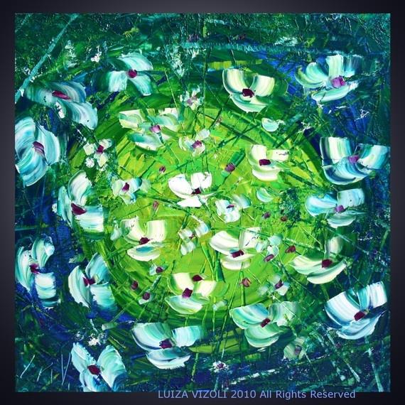 Original Modern Flowers Palette Knife Oil Painting on Canvas by Luiza Vizoli