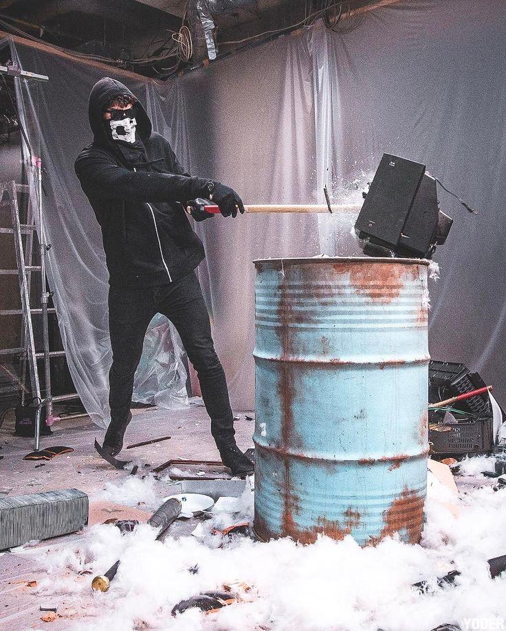 Shawn Mendes smashing a TV