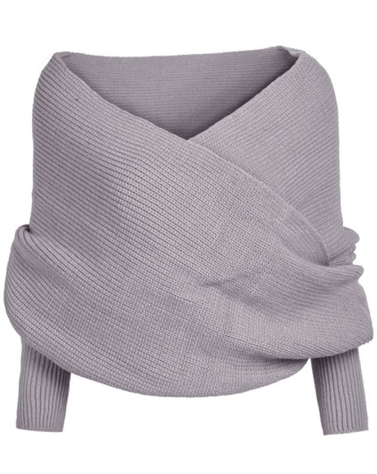 Sheinside® Women's Grey Off the Shoulder Crop Knit Sweater (One-Size, Black)