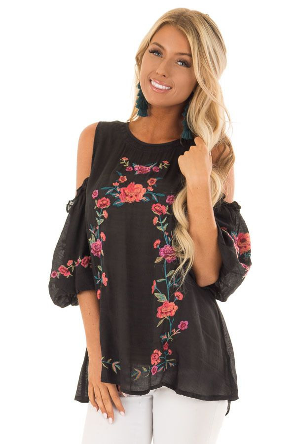 e2d15f4bdd7d5d Black Floral Embroidered Cold Shoulder Puff Sleeve Blouse in 2019 ...