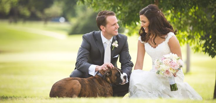 Sarah and Koby and their favorite furry friend.    Photography-Jason Switzer Photography (Jason & Kelly Switzer)    Location-Oak Tree Country Club, Edmond, Oklahoma    Wedding Coordinators-Shaina MacQuarrie, Kristen Partridge, Kate Staton    Hair and Makeup-Chelsey Ann    Florist-The French Tulip    Cake-Amy Cakes    Entertainment-Nexus Productions
