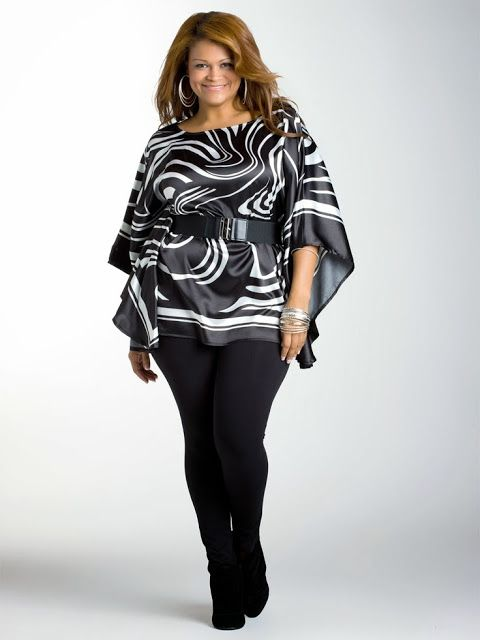 Plus Size Clothing For Women In Black and White- without the belt for me.