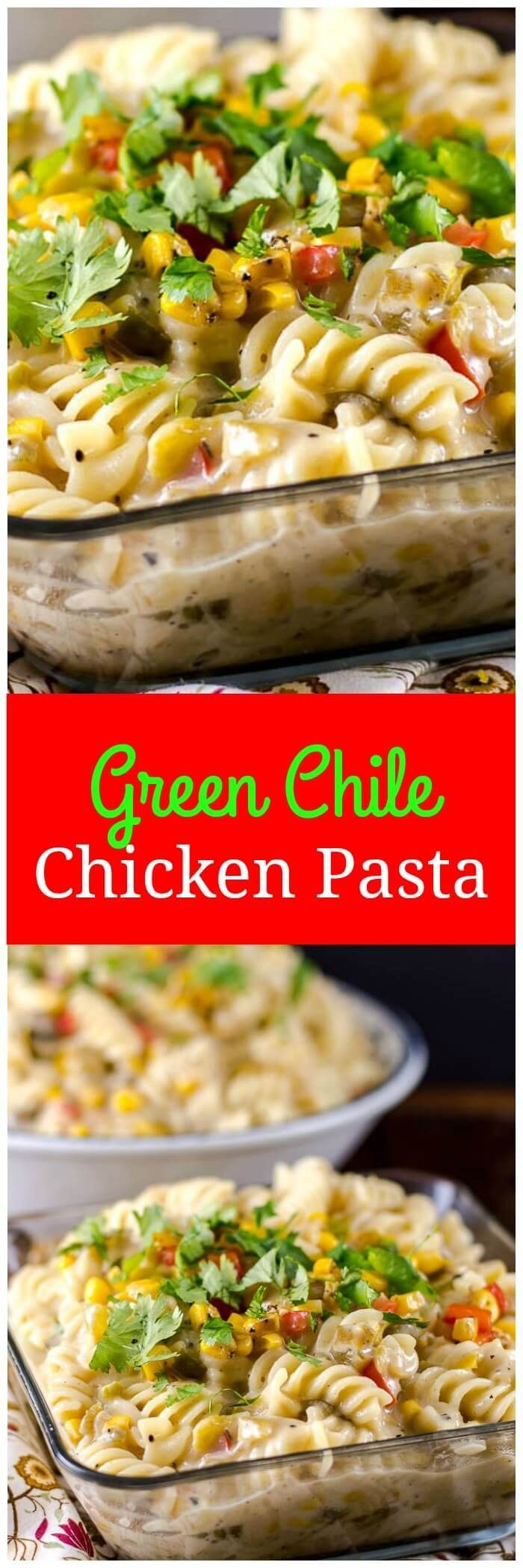 This Green Chile Chicken Pasta is a rich and creamy Southwest style pasta dish. #MyExceptionalPasta #GoldenHarvest #Pmedia #ad via @flavormosaic