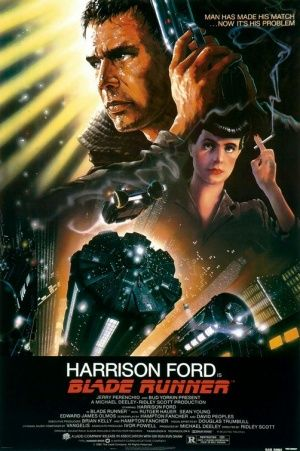 "Blade Runner. Directed by Ridley Scott. An amazing cyberpunk movie. Raises the unnerving question, ""What does it mean to be human?"""