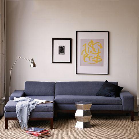 $1700 Lorimer Sectional | west elm: Mid Century Modern, Westelm, Idea, Living Rooms, Blue Couch, Studios Couch, Deep Blue, West Elm, Sectional Sofas