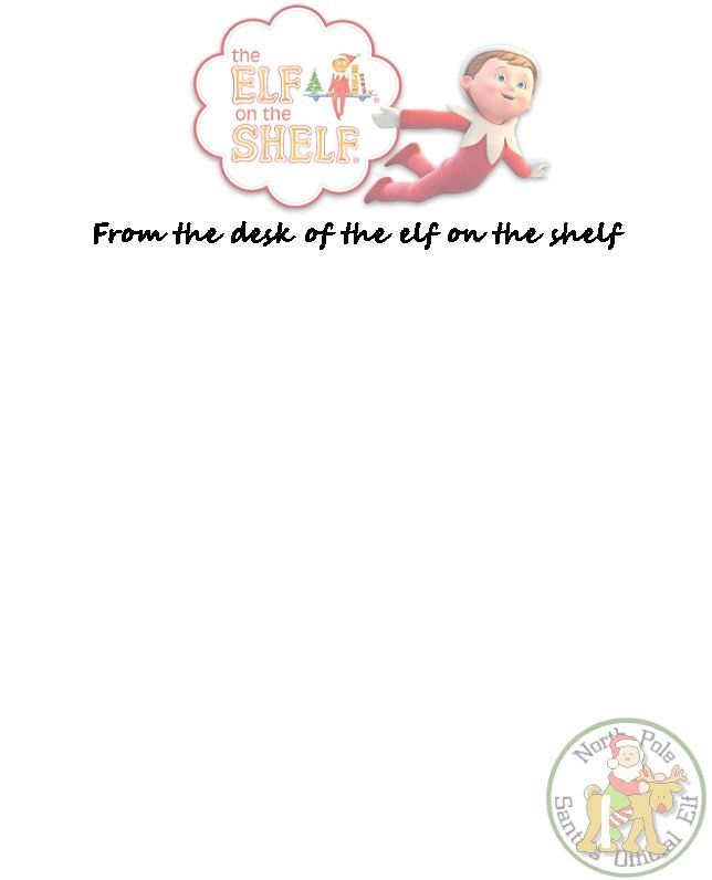 high and low looking for offical letter head stationary for our elf ...