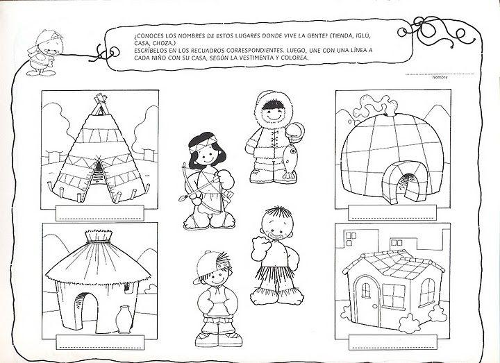 Resultado de imagen para laminas sobre diferentes viviendas para preescolar