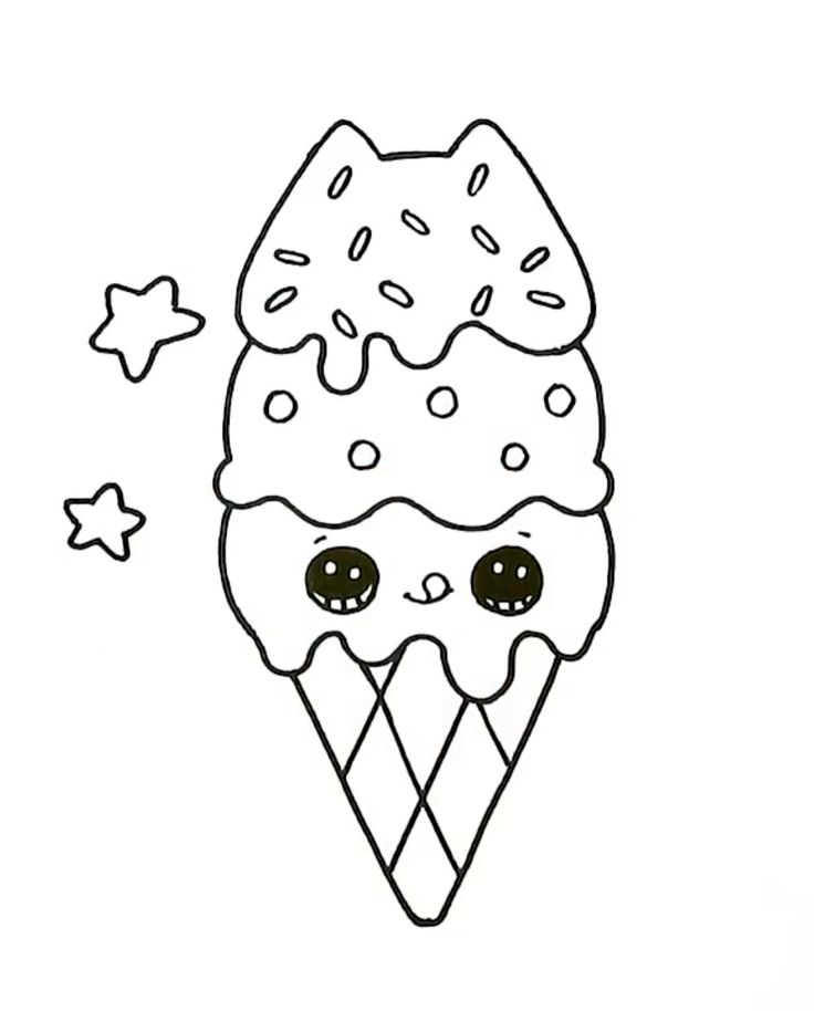Раскраска мороженое с глазками