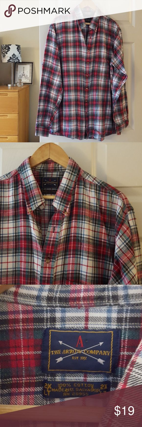 """plaid flannel mens shirt red, green, white size 2X Measurements lying flat:  Chest: 27"""" Length:31"""" 100% cotton  -Smoke-free home  -Reasonable offers welcome, but prices are firm on items under $10.  -No trades, please.  -All measurements are approximate.  💕💕💕Thank you for shopping my closet, it means a lot to me!💕💕💕 The Arrow Company Shirts Casual Button Down Shirts"""