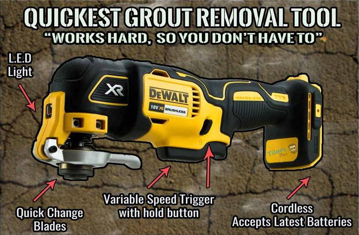 Basic info-graphic displaying an oscillating multi-tool with a grout removal blade attached.  It is the modern equivalent to the traditional grout saw and works much better as a removing grout tool.  It is quick and easy to use making it great for first timers working with such a tool.