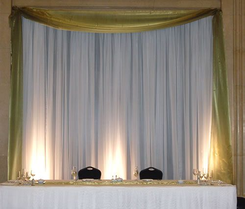 pipe and drape backdrop for behind DJ - all white or Accruent blue instead of gold?