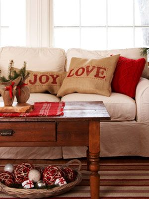 Joy and Love Pillow Covers  Washable burlap sewn into covers and stamped with paint-covered wooden letters...         Read more: Eco-Friendly Homemade Christmas Decorations - Make Christmas Decorations at WomansDay.com - Woman's Day