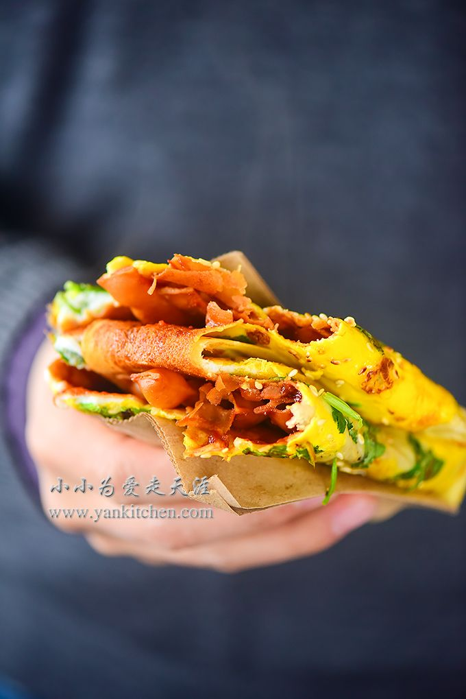 Savory Chinese crepes are widely popular in mainland China.  They are usually sold by food trucks or food vendors.  One crepe can be done in a couple minutes from start to finish.  It is tasty and cooked really fast so that it is a lot of people's breakfast or late night snack food on the go.