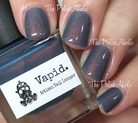 Vapid: ❤ Sweaters N Denim ❤ .., a blue to peach thermal nail polish with peach shimmer. This polish is pretty much everything, the shift is stunning and very obvious and the shimmer when its blue is gorgeous