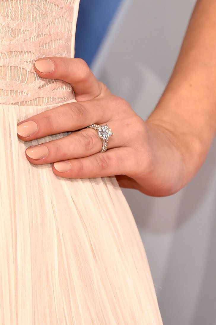 Pin for Later: The 12 Most Gorgeous Engagement Rings Given in 2015 Hannah Davis Wearing a silver diamond ring.