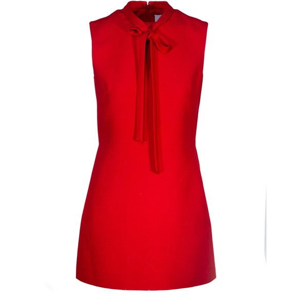 Sale// valentino - little red dress with neck tie (€1.670) ❤ liked on Polyvore featuring dresses, neck tie dress, red valentino dress, red dress, necktie dress and red necktie