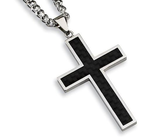 Stainless Steel Mens Cross Necklace