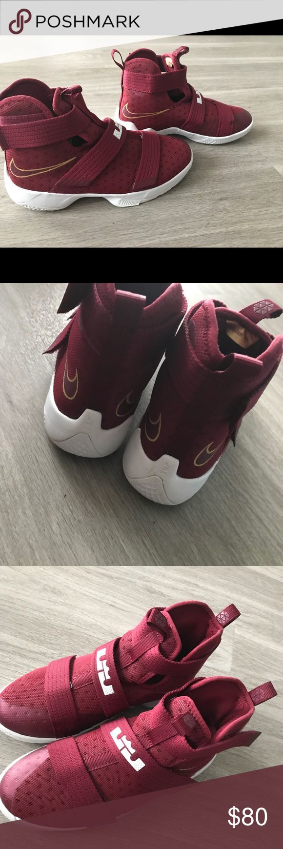 Lebron James sneakers Like new, perfect condition. The bottom of the shoe is a little dirty from the two times I've worn them. They are a children's size 6 and women's size 8 Nike Shoes Sneakers